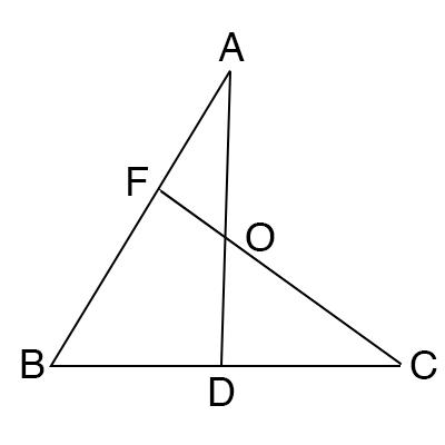 メネラウスの定理を使ったチェバの定理の証明図1