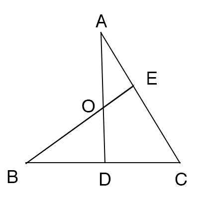 メネラウスの定理を使ったチェバの定理の証明図2
