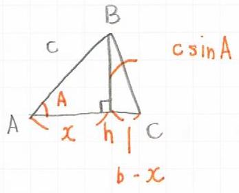 ヘロンの公式を証明するための三角形の図