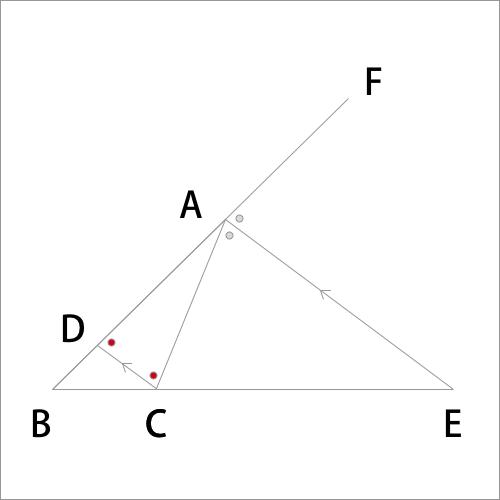 外角の2等分線の定理の図