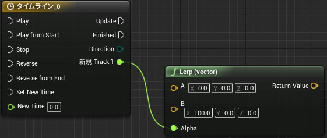 timeLineのトラックからlerp vectorノードを作成する図