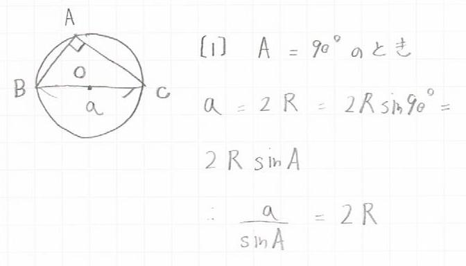 正弦定理角度が90°の場合の図と証明