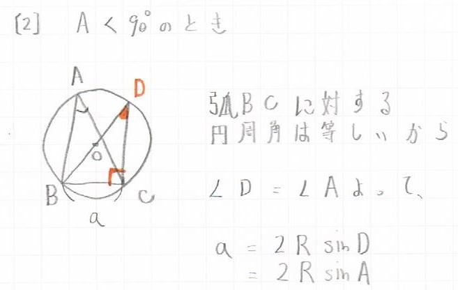正弦定理角度が鋭角の場合の図と証明