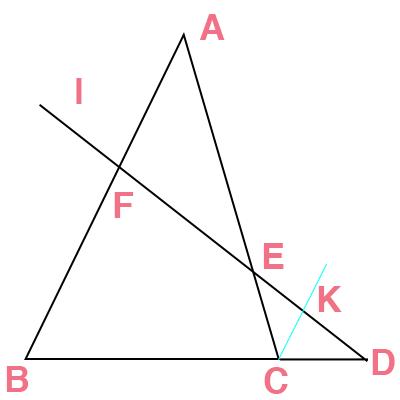 メネラウスの定理の証明方法の図解