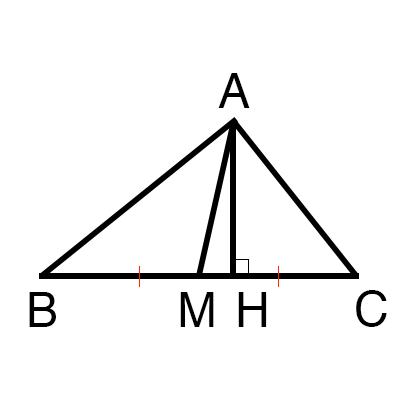 中線の定理の証明図