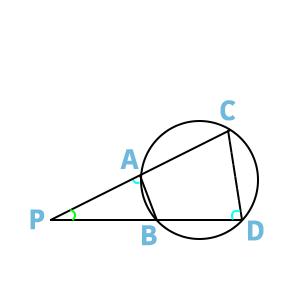 一つの三角形と法べきの定理の図
