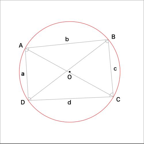 トレミーの定理を利用する四角形の図