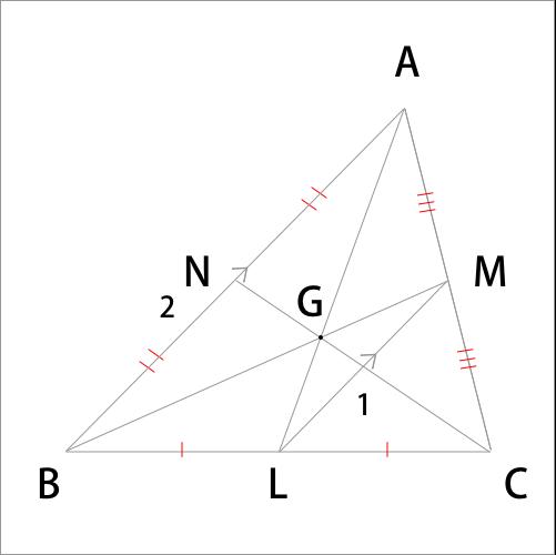 中点連結定理を利用した重心の証明図
