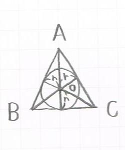 三角形の内接円から面積を求める図